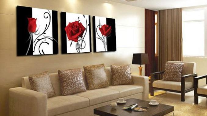3 schilderijen met rosen